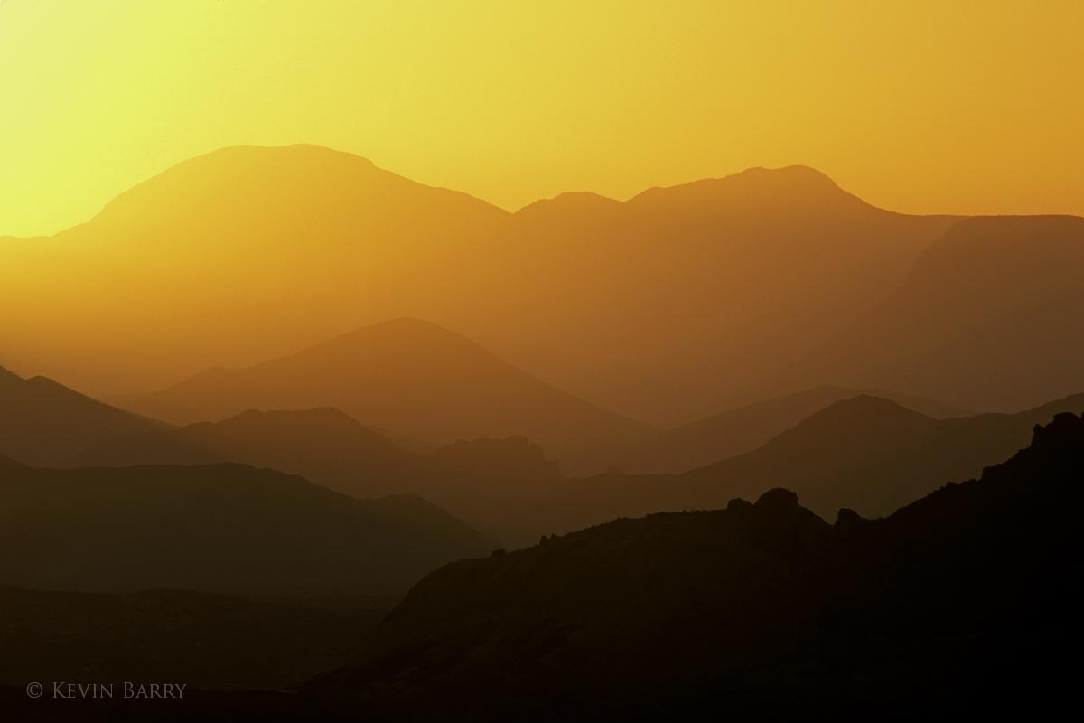 mountain ridges at sunrise, Big Bend National Park, Texas, photo