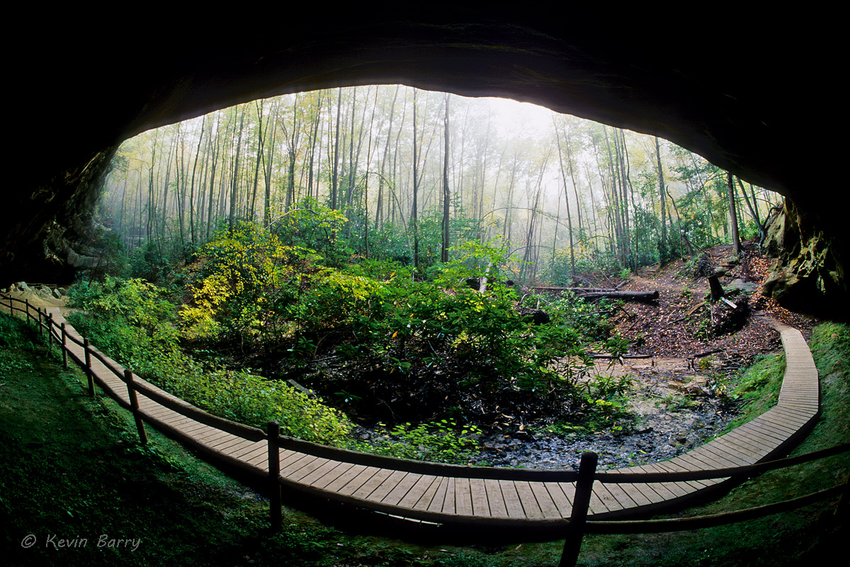 Hazard Cave, Pickett State Park, Jamestown, Tennessee, horizontal, fisheye view, wide angle, fog, south, southern, day, exterior...