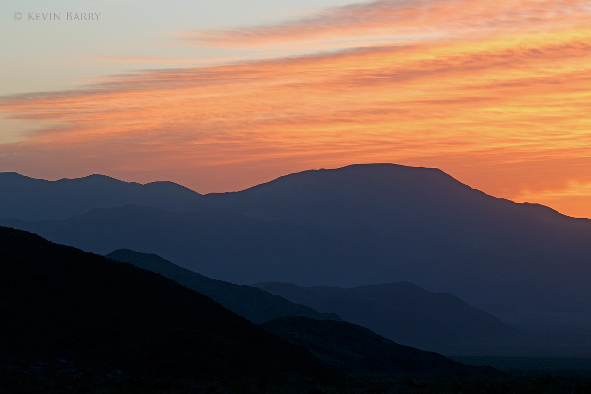 Mountains at sunrise, Joshua Tree National Park, California, dawn, horizontal, ridges, orange, black, nature, natural, spring...