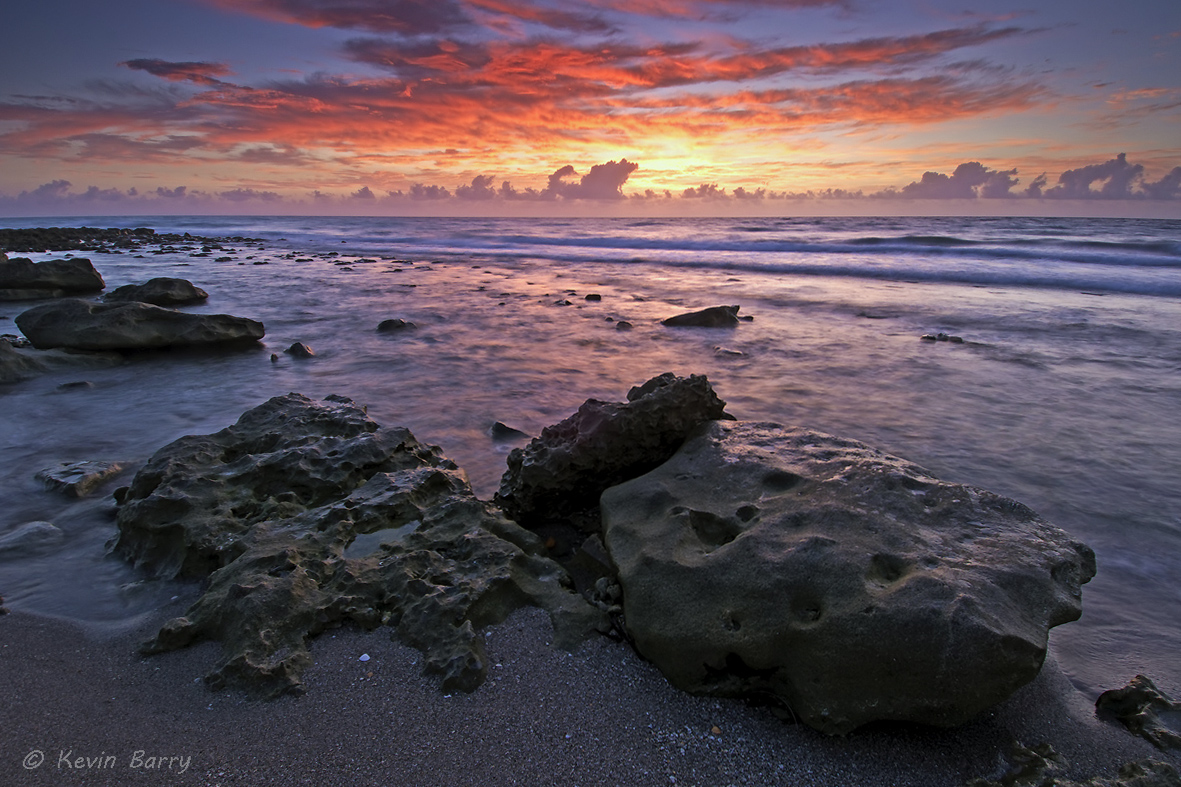 Blowing Rocks Preserve at sunrise, Jupiter, Florida