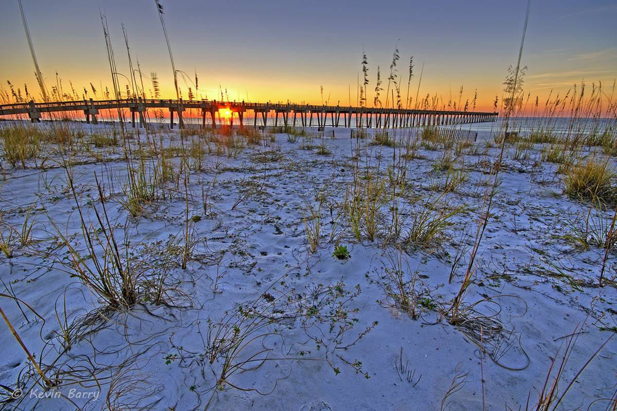 Pensacola Beach Gulf Pier, Florida, sunrise, photo