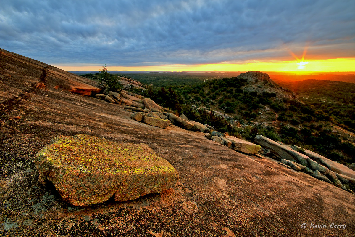 Sunrise over Turkey Peak, Enchanted Rock State Natural Area, Texas, photo