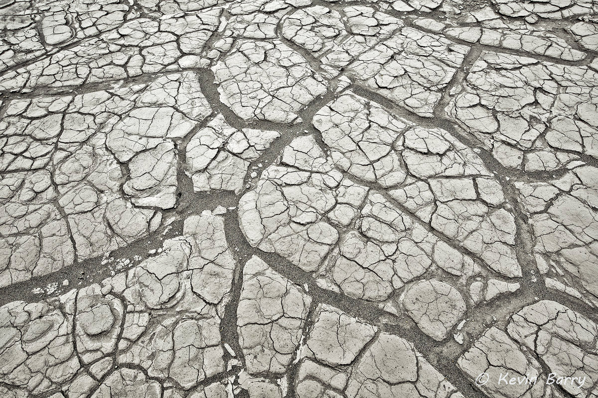 Parched, Death Valley National Park, California, cracked mud, monochrome, bw, black and white, gray, horizontal, abstract, nature...